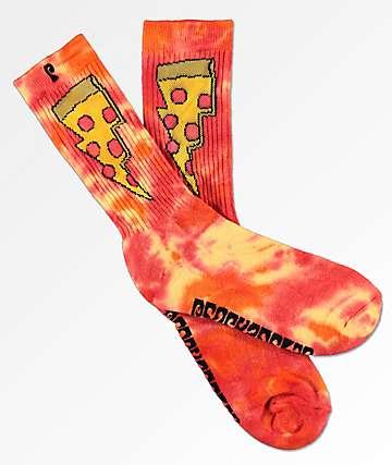 Psockadelic Doughnut calcetines rojos y amarillos con efecto tie dye