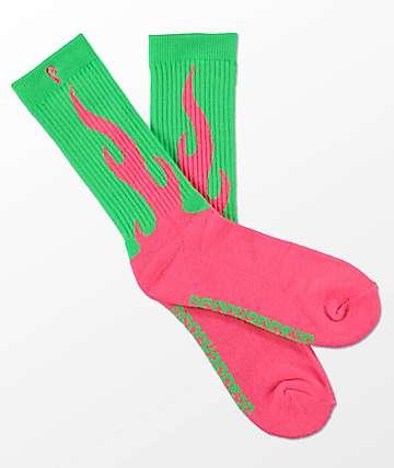 Psockadelic Flamer calcetines en rosa y verde neón