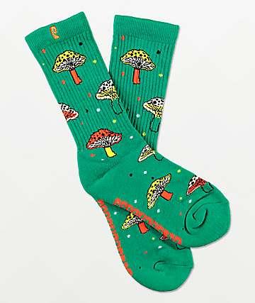 Psockadelic Fungi Green Crew Socks