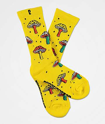 Psockadelic Fungi Yellow Crew Socks