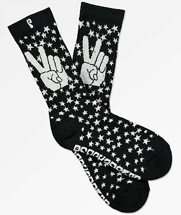 Psockadelic Peace Glow In The Dark Crew Socks