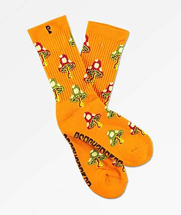 Psockadelic Shroom Orange Crew Socks