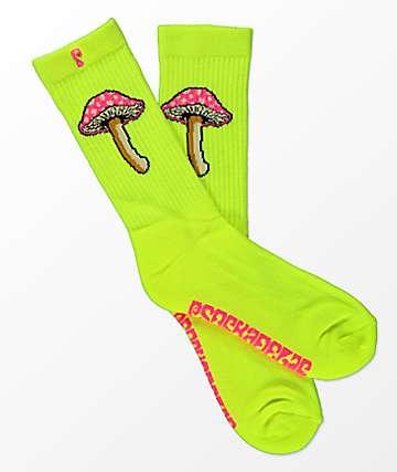 Psockadellic Fungi II Neon Yellow Crew Socks