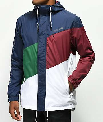 Quiet Life Sierra Navy, Green, Burgundy Windbreaker Jacket
