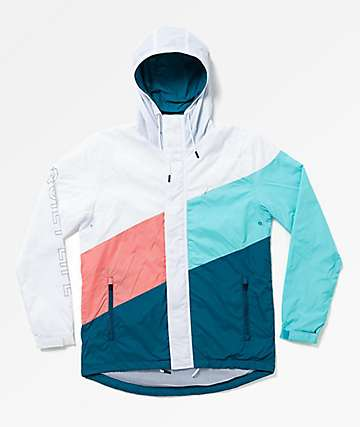 Quiet Life Sierra White, Coral & Blue Windbreaker Jacket