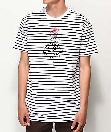 Quiet Life Stripe Rose White & Black Striped T-Shirt