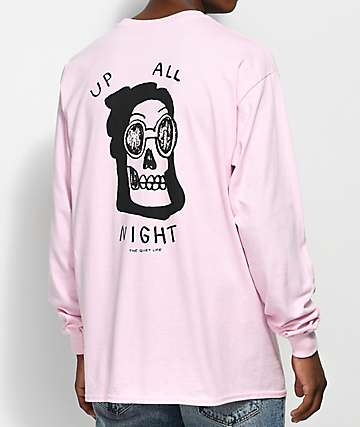 Quiet Life Up All Night camiseta rosa de manga larga