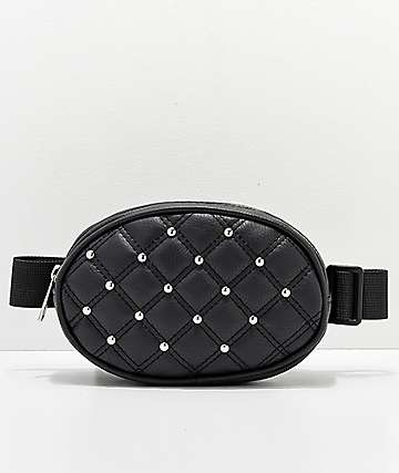 Quilted Black Oval Fanny Pack