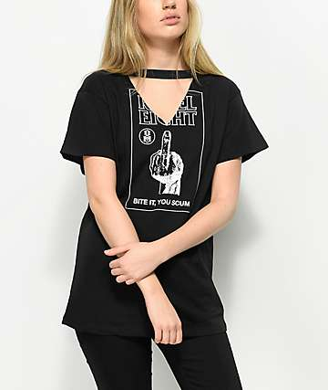 REBEL8 Bite It Black Choker T-Shirt