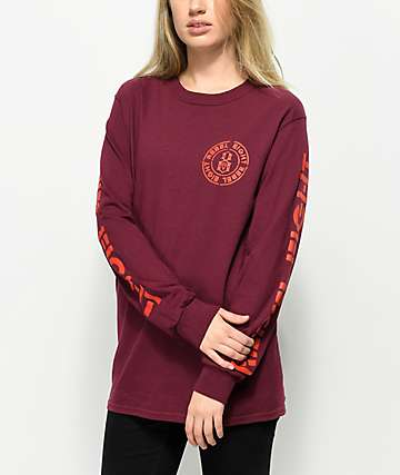 REBEL8 Blotch Burgundy Long Sleeve T-Shirt