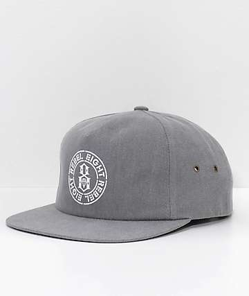 REBEL8 Blotch Grey Snapback Hat