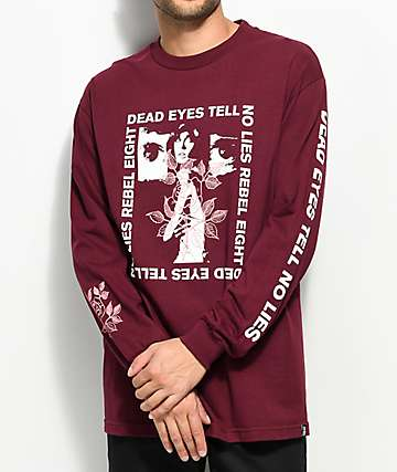 REBEL8 Dead Eyes Burgundy Long Sleeve T-Shirt