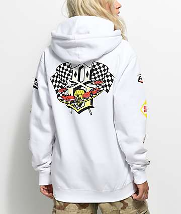 REBEL8 Speedway White Hoodie
