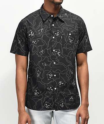 RIPNDIP 3M Line Camo Black Short Sleeve Button Up T-Shirt