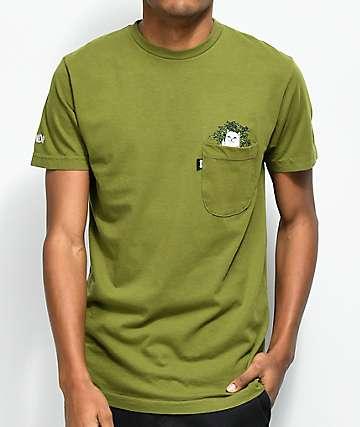 RIPNDIP Cat Nip Olive Green Pocket T-Shirt