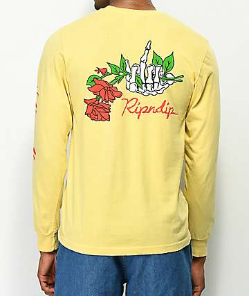 RIPNDIP Dead Rose RIP Yellow Long Sleeve T-Shirt