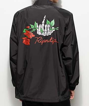 RIPNDIP Dead Rose chaqueta negra estilo entrenador