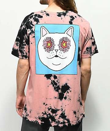 RIPNDIP Flower Eyes camiseta roja con efecto tie dye