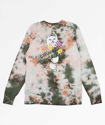 RIPNDIP Flowers For Bae Green & Pink Acid Wash Long Sleeve T-Shirt