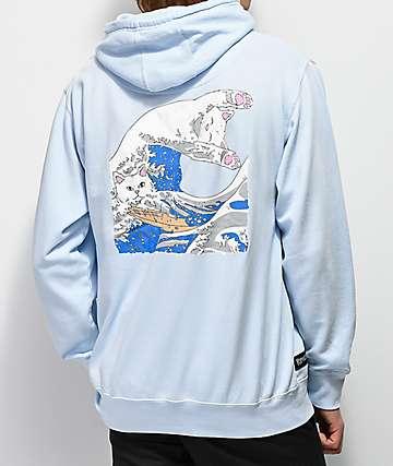 RIPNDIP Great Wave Light Blue Hoodie