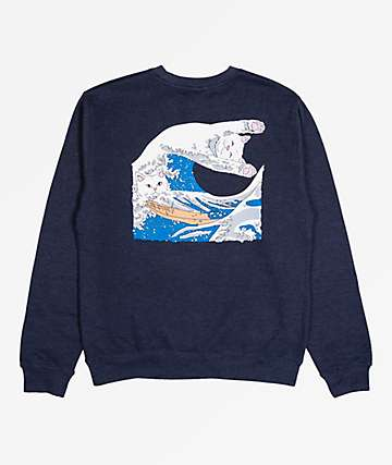 RIPNDIP Great Wave Navy Blue Crew Neck Sweatshirt