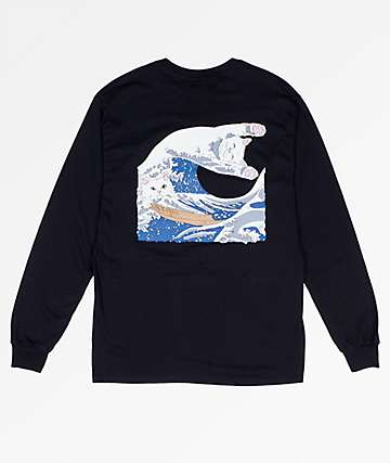 RIPNDIP Great Wave Of Nerm Black Long Sleeve T-Shirt