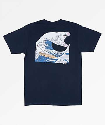 RIPNDIP Great Wave Of Nerm Navy T-Shirt