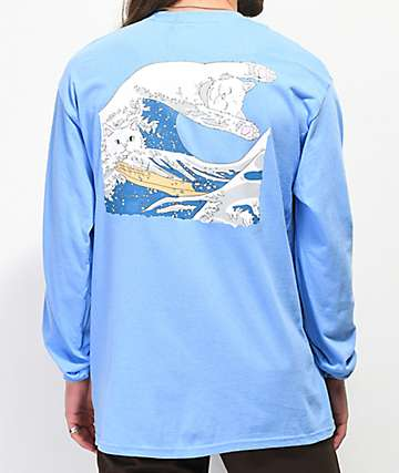 RIPNDIP Great Wave Of Nerm camiseta de manga larga azul