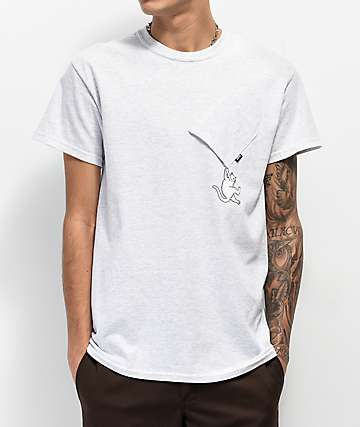 RIPNDIP Hang In There Ash Grey Pocket T-Shirt