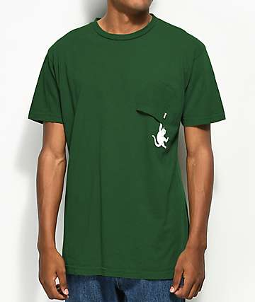 RIPNDIP Hang In There Hunter Green Pocket T-Shirt