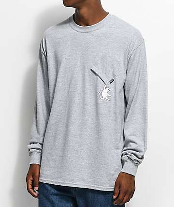 RIPNDIP Hang In There camiseta en gris jaspeado con bolsillo