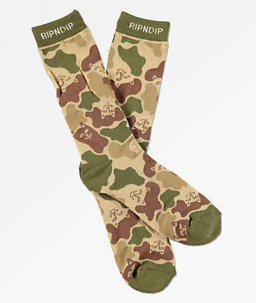 RIPNDIP Invisible calcetines de camuflaje verde