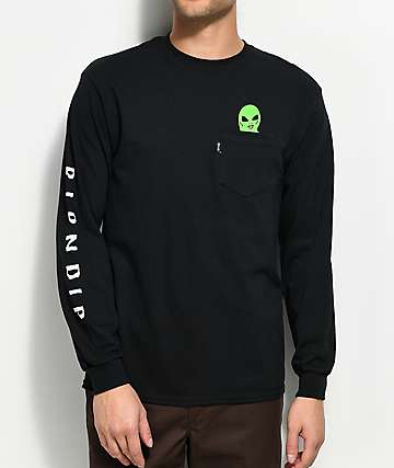 RIPNDIP Lord Alien Black Pocket Long Sleeve T-Shirt