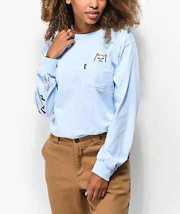 RIPNDIP Lord Nermal Baby Blue Long Sleeve T-Shirt
