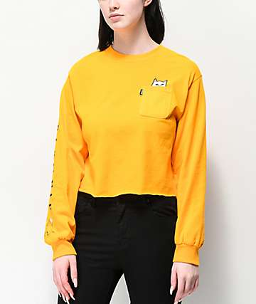 RIPNDIP Lord Nermal Gold Crop Long Sleeve T-Shirt