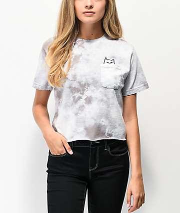 RIPNDIP Lord Nermal Grey Washed Crop Pocket T-Shirt