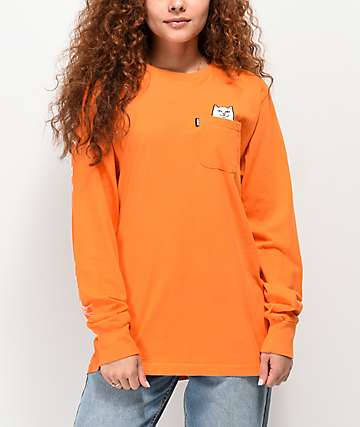 RIPNDIP Lord Nermal Orange Long Sleeve Pocket T-Shirt