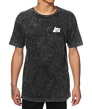 RIPNDIP Lord Nermal Pocket Black Mineral Wash T-Shirt