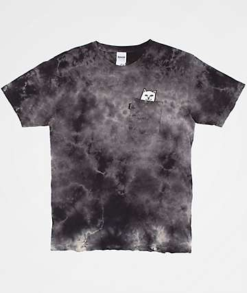 RIPNDIP Lord Nermal Pocket Black Tie Dye T-Shirt