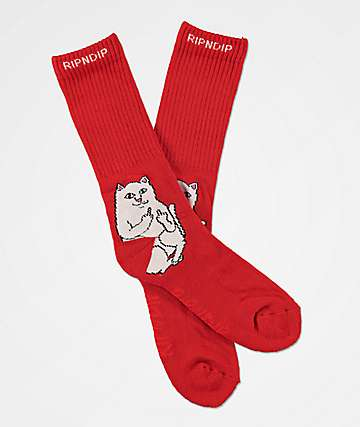 RIPNDIP Lord Nermal Red Crew Socks