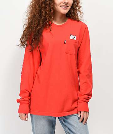 RIPNDIP Lord Nermal Red Long Sleeve Pocket T-Shirt