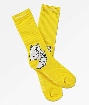 RIPNDIP Lord Nermal Yellow Crew Socks