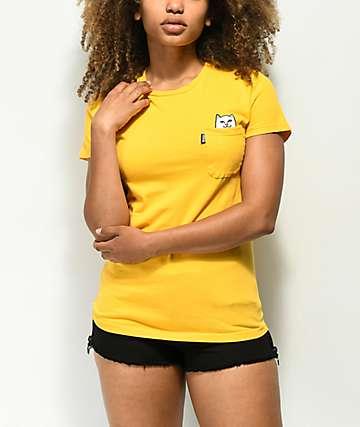 RIPNDIP Lord Nermal camiseta amarilla con bolsillo