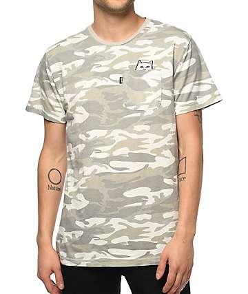 RIPNDIP Lord Nermal camiseta con bolsillo en blanco y gris