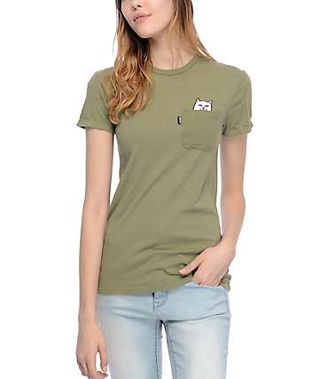 RIPNDIP Lord Nermal camiseta con bolsillo en color olivo