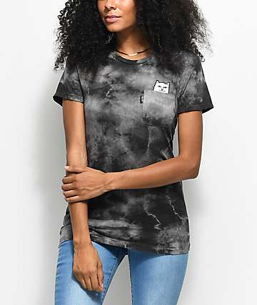 RIPNDIP Lord Nermal camiseta negra con bolsillo y efecto tie dye
