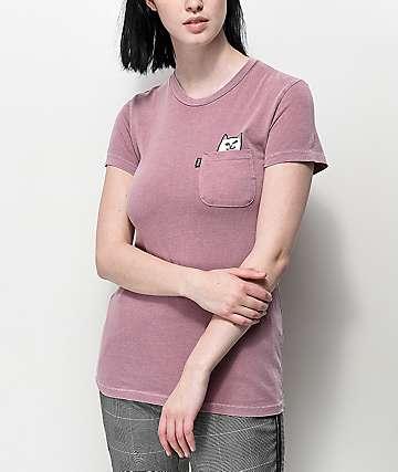 RIPNDIP Lord Nermal camiseta rosa con bolsillo