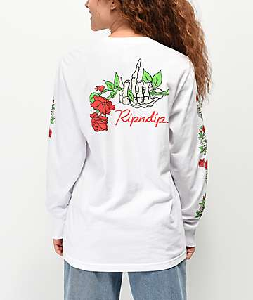 RIPNDIP Nermal Dead Rose White Long Sleeve T-Shirt