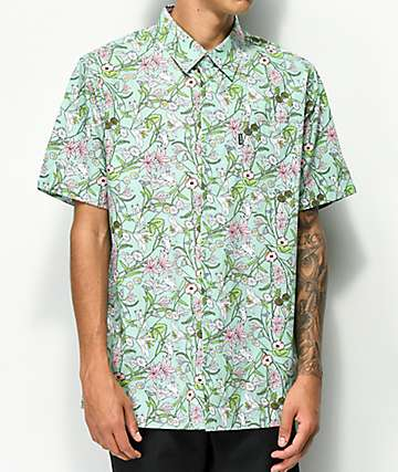 RIPNDIP Nermal Floral Turquoise Short Sleeve Button Up Shirt
