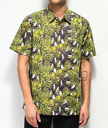 RIPNDIP Nermal Jungle Black Button Up Shirt